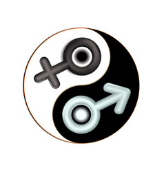 yin and yang male female gender 3d symbol vector image