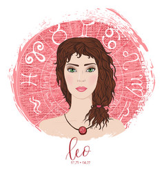 Zodiac signs leo in image of beauty girl vector