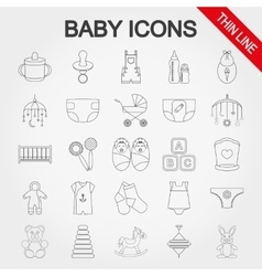 Collection of cute baby icons vector image