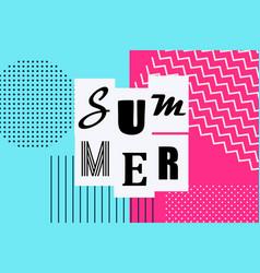 summer banner vintage memphis style vector image