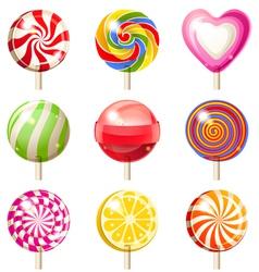 9 lollipop icons vector image vector image