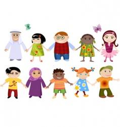multi cultural children vector image