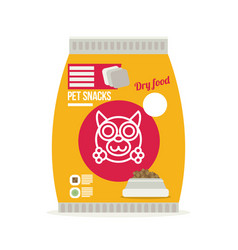 Pet snacks in pouches icon of dog dry food icon vector