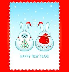 Rabbit Santa New Year card vector image vector image