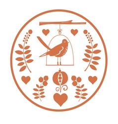 Round fantasy design with birds vector image vector image