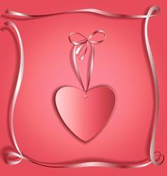 Silk ribbon heart copy vector image vector image
