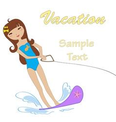 attractive girl water skiing vector image