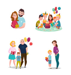 family gift giving set vector image