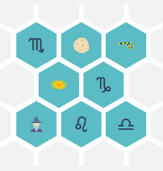 Flat icons space goat lion and other vector