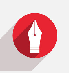 modern Fountain pen red circle icon vector image