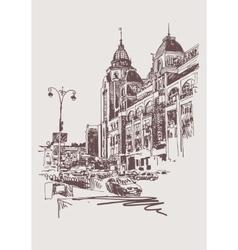 original sepia digital sketch of Kyiv Ukraine vector image