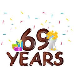 69 th birthday celebration greeting card vector image vector image