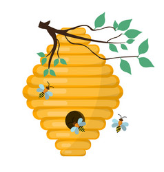 bee-hive swarm icon flat style isolated on vector image vector image