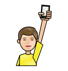 Drawing boy with yellow tshirt holding smartphone vector