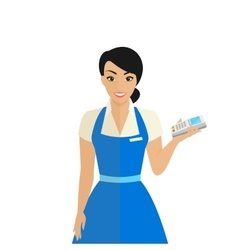 Friendly female shop assistant holding payment vector