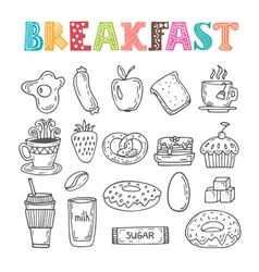 Hand drawn breakfast set Collection of various vector image