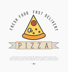 pizza slice logo with thin line icon for menu vector image