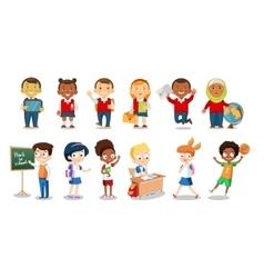 Set of cheerful school children flat icons vector image vector image