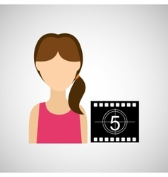 woman character movie countdown design vector image