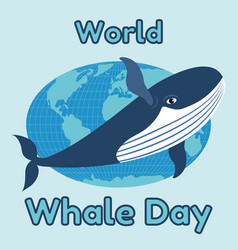 world whale day emblem card or banner cute blue vector image