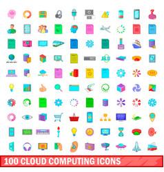 100 cloud computing icons set cartoon style vector