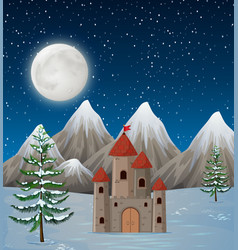 a castle in winter night vector image