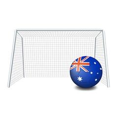 A soccer ball near the net with the flag of vector