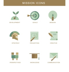 Abstract mission flat design symbol icons vector