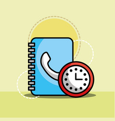 address book and clock customer service vector image