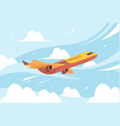 Airplane in sky flying civil aircraft transport vector