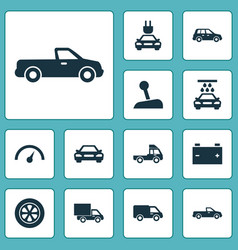 Auto icons set collection of plug transport vector