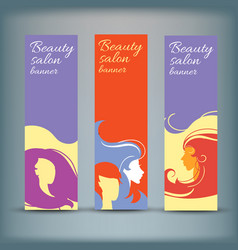 banner set with stylish woman silhouette vector image