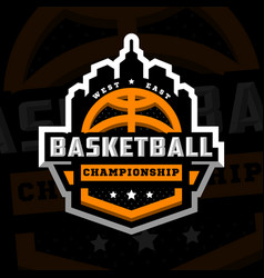 Basketball championship sports logo emblem on a vector