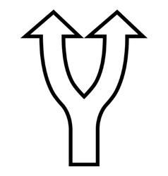 Bifurcation Arrow Up Thin Line Icon vector
