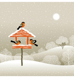 Birdfeeder in winter forest vector image