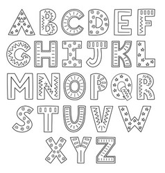 Black and white alphabet hand drawn outline abc vector