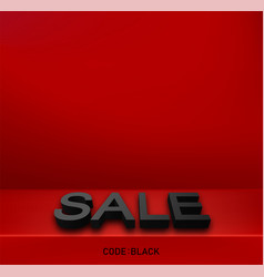Black friday sale red promo background with 3d vector