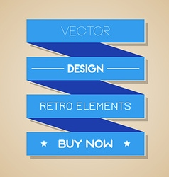 Blue retro ribbon Flat design vector