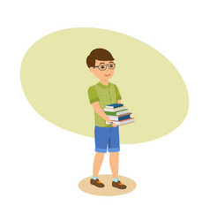 Boy in glasses with literature go from library vector