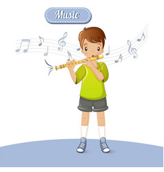 boy play flute music concept background cartoon vector image