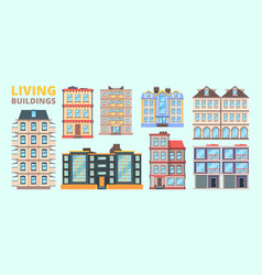 building facade living houses villas urban vector image