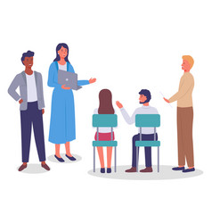 business meeting communicating colleagues vector image