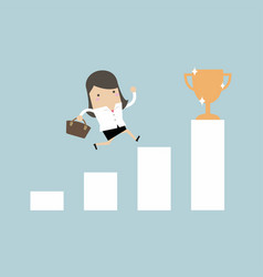 businesswoman climbing ladder to success vector image
