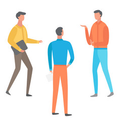 cartoon male characters discussing business issues vector image