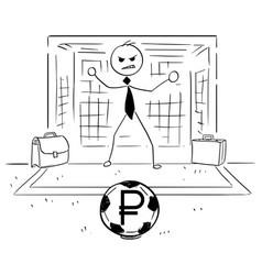 Cartoon of businessman as soccer football goal vector