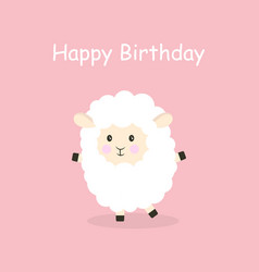 cartoon sheep happy birthday vector image