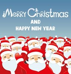 Cheerful Santa Clauses vector image