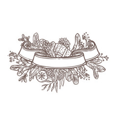 christmas ribbon banner for text vector image