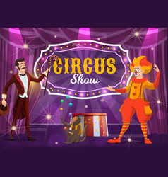 circus performers on big top arena poster vector image