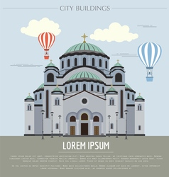 City buildings graphic template Belgrad cathedral vector image